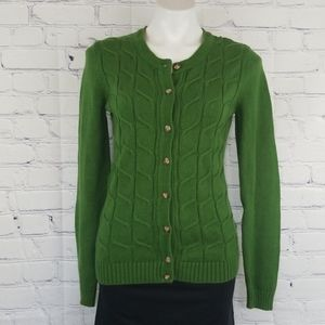 Green Merona cable knit cardigan size medium 🍀